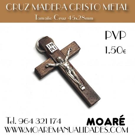 CRUZ MADERA CRISTO METAL