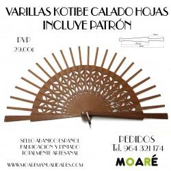 Varillas abanico KOTIBE CALADO FLORECILLAS 14.5X6.5CM