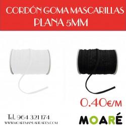 CORDÓN GOMA MASCARILLAS PLANA 5MM