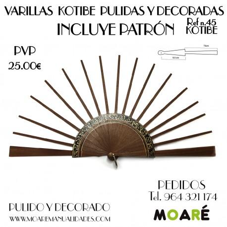 Varillas abanico KOTIBE DECORADO 24.5cm