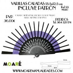 VARILLAS CALADAS 13.5x12.5 cm NEGRO