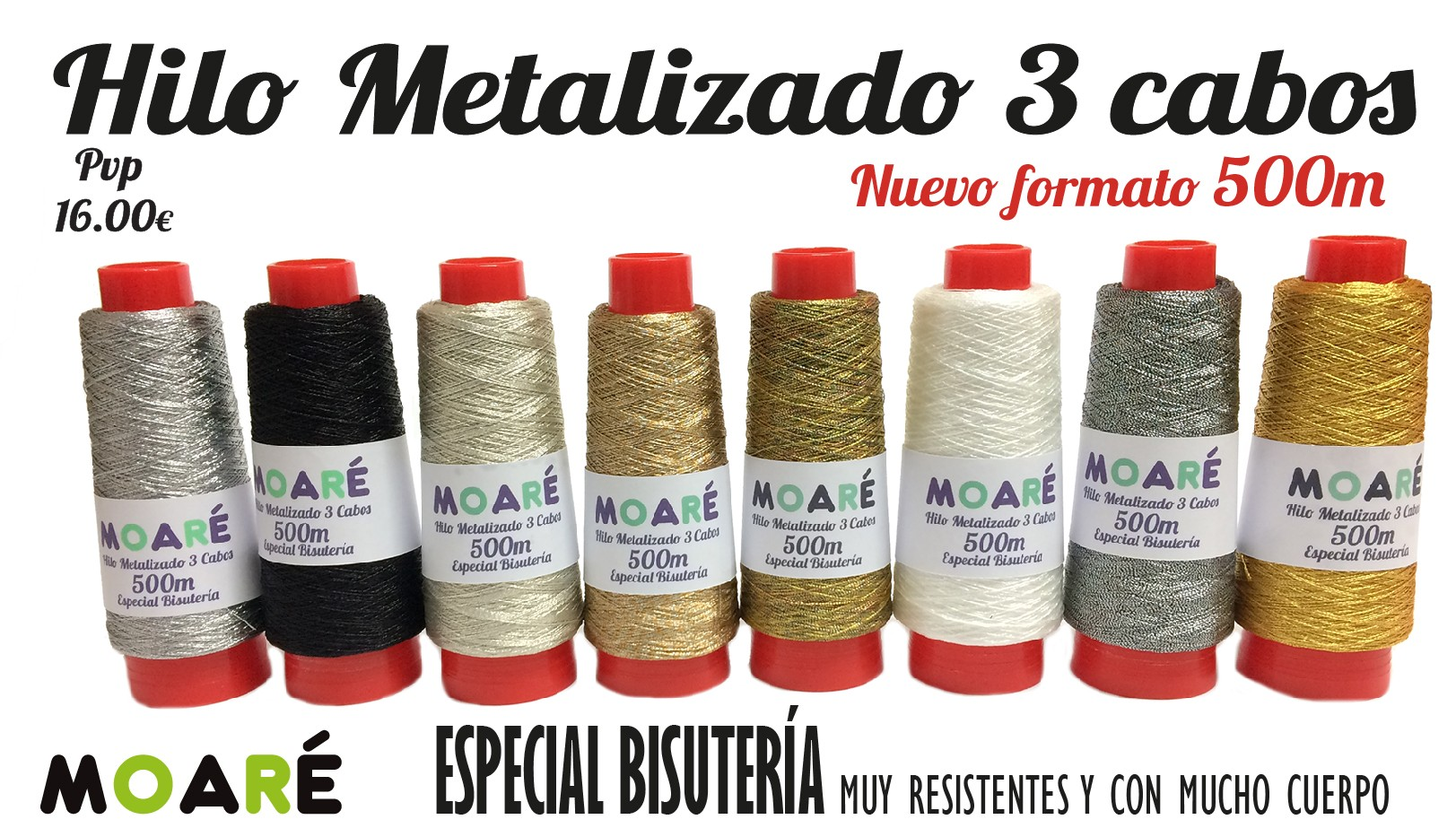 hilo metalizado 3 cabos especial bisuteria encaje de bolillos