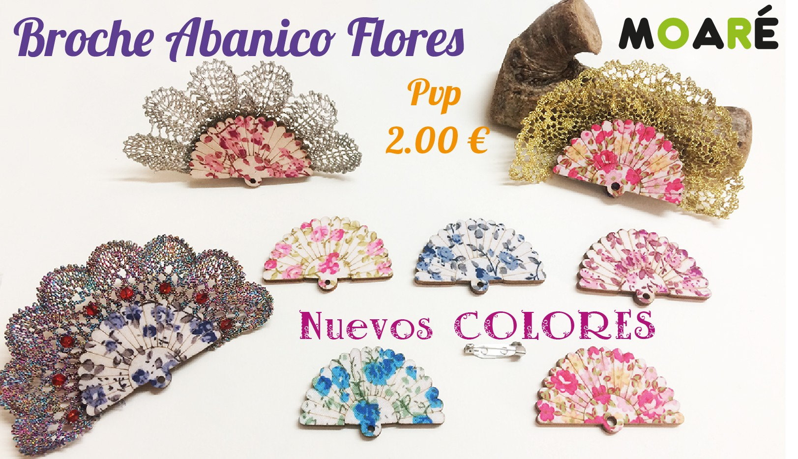Kit Broche  Abanico Rosas